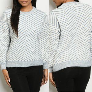 Blue Ivory Round Neck Pullover Sweater {O&O}